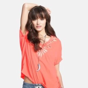 Free People Coral Cutout Tee Double V Neck Petals